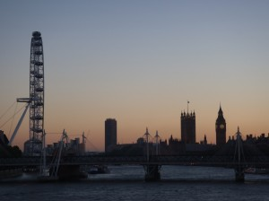 Sunset in London from Embankment