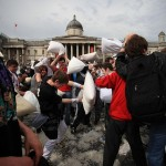 Trafalgar Square: Home to Jesus, Pillows and Ponies. (Alright, not the last one. But it COULD be.)