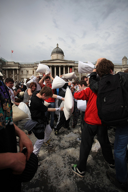 International Pillow Fight via Shimelle (Flickr)