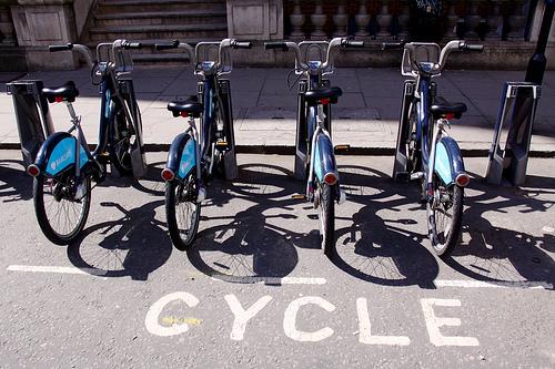 boris bikes in a stand