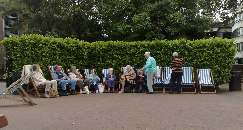 pensioners on deckchairs