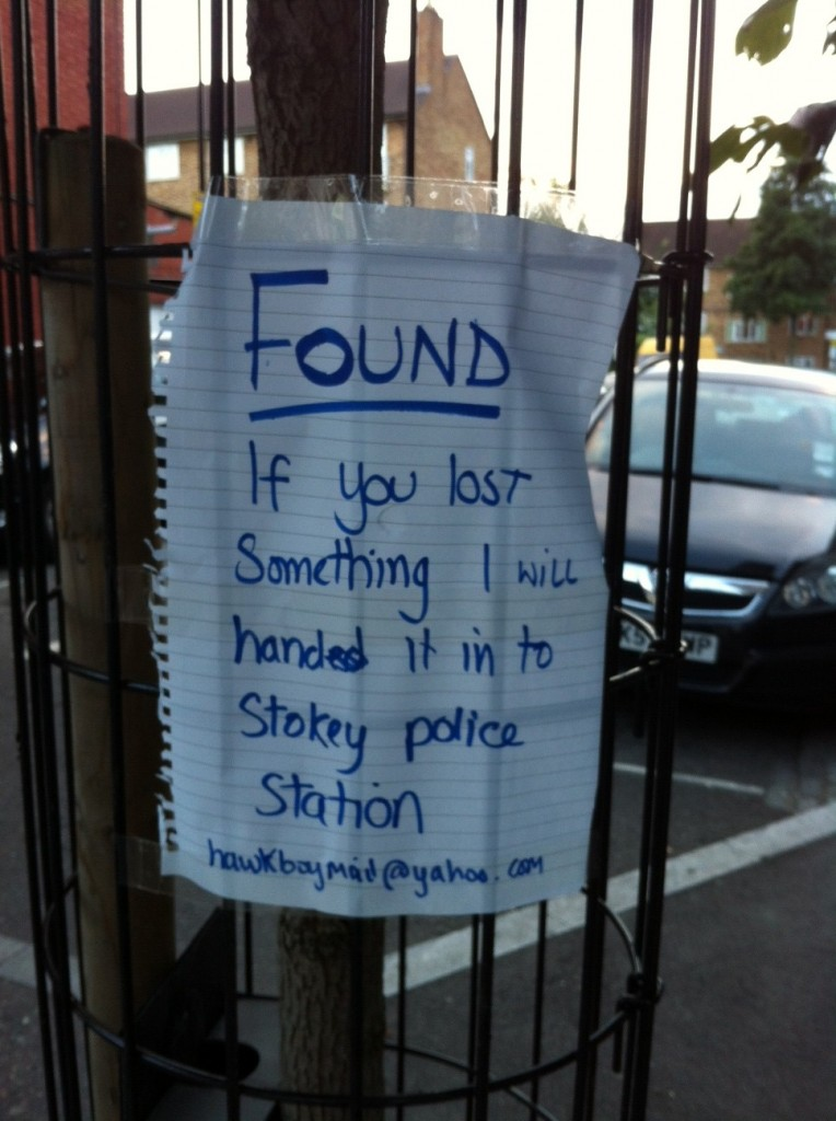 A lost and found note