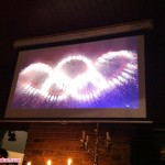 The Olympic rings in the Opening Ceremony, as seen from a pub in N1.