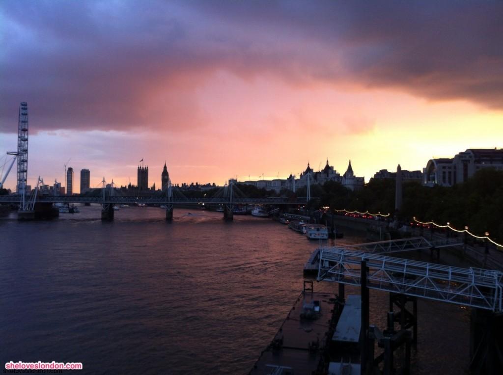 Thames River and Millennium Bridge in London
