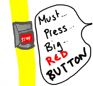 Big red stop button on the bus. Mmm
