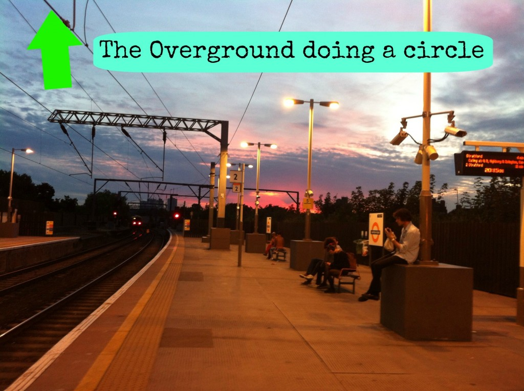 The Overground platform at sunset, Camden Road