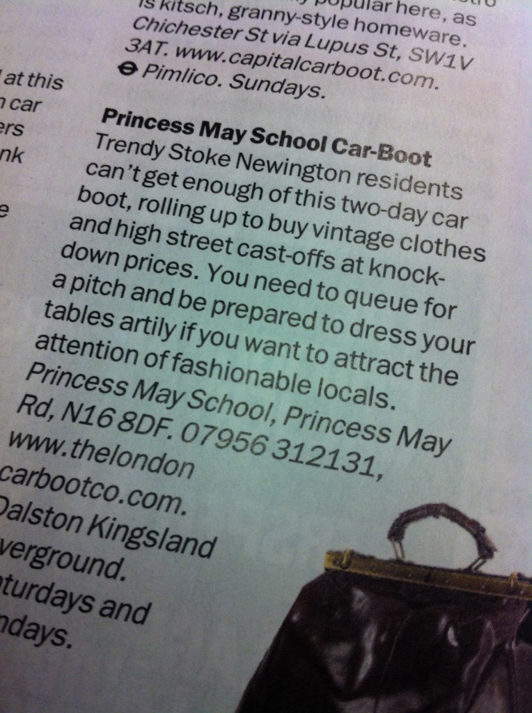 Princess May Road Car Boot Sale listing in TimeOut