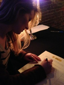 Signing my life away in Cafe de Mort