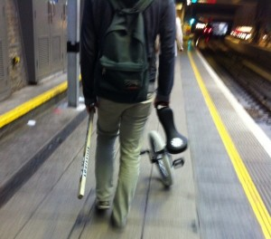 Found on the Overground: Unicycle Hockey Player.