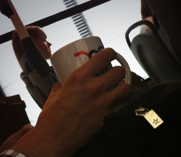Mug of coffee on the London bus