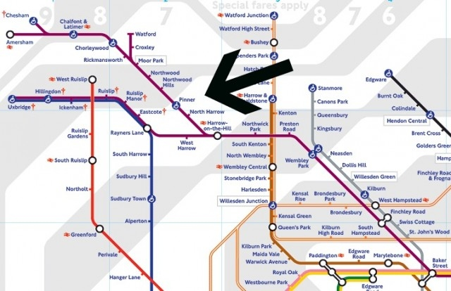 This is where Pinner is on the tube map.