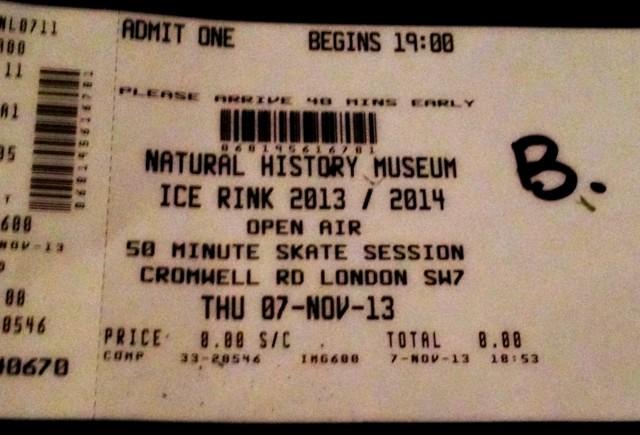 natural history museum skating ticket