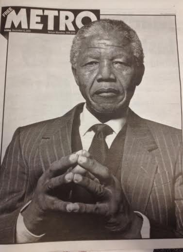 Nelson Mandela on Metro front page