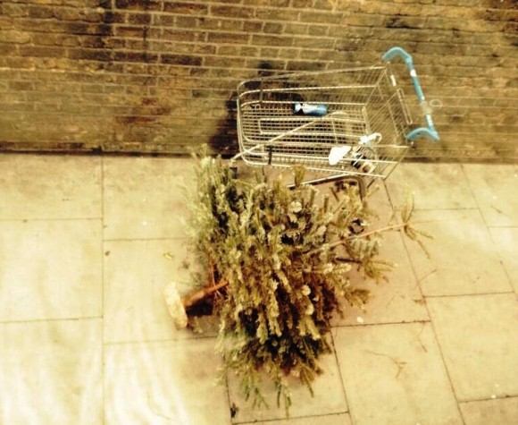 abandoned christmas tree in Farringdon