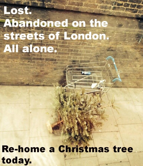 christmas tree abandoned in Farringdon