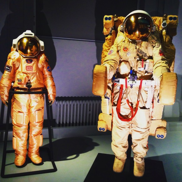 Two Russian cosmonaut space suits at the Science Museum London